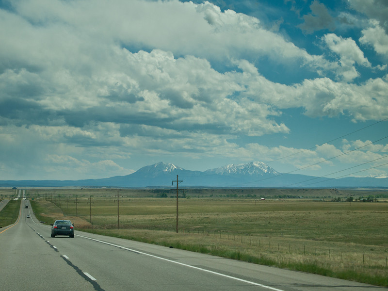 The Spanish Peaks as seen from I-25 south of Colorado City