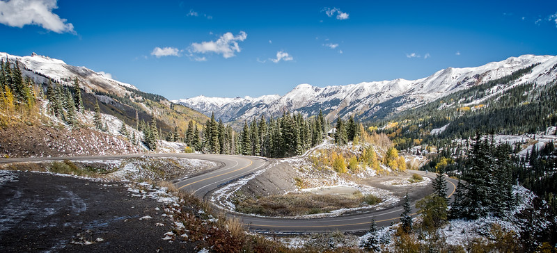 The temperature is 34 degrees. The road down to Ouray is somewhat challenging but well within our and our bikes comfort zone.