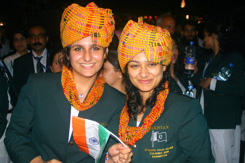 Two of the girls got themselves some Indian turbans as well as their flag as a trophy!