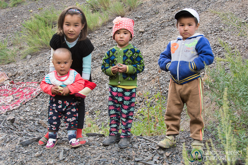 Kyrgyz Children Come Out to Meet Us in the Alay Mountains, Southern Kyrgyzstan