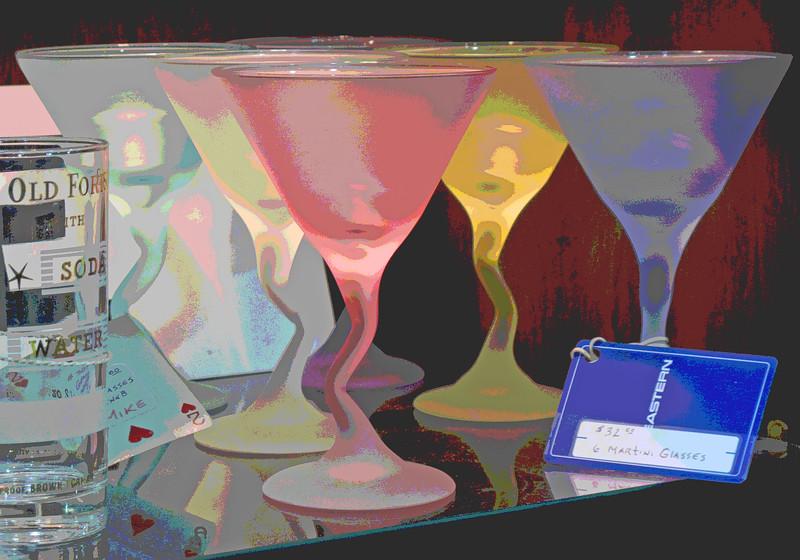 6 Martini glasses