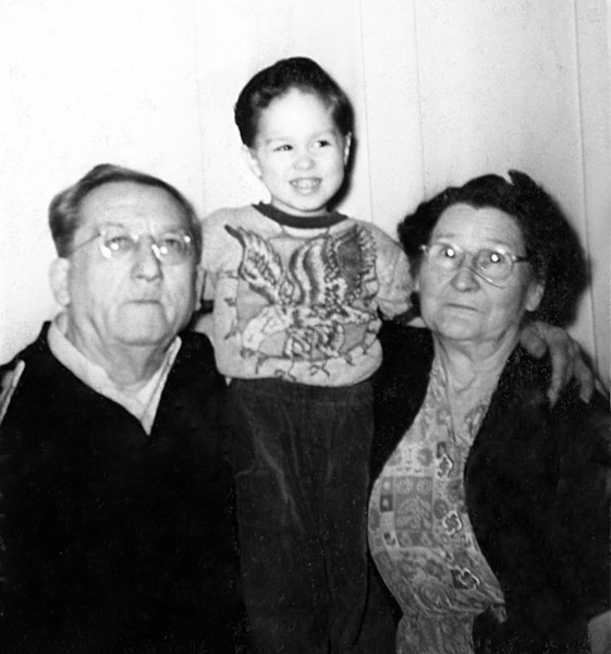 With my maternal great grandparents, Louise and Clarence Humphreys in San Francisco 1953
