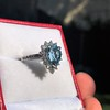 3.30ctw Aquamarine and Diamond Cluster Ring 7
