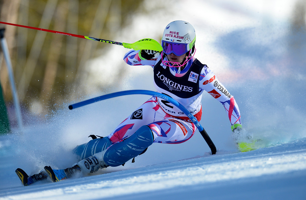 . BEAVER CREEK, CO - FEBRUARY 9: Margot Bailet, of France, competes in the Women\'s slalom portion of the women\'s alpine combined race at the FIS Alpine World Ski Championships in Beaver Creek, CO. February 9, 2015. (Photo By Helen H. Richardson/The Denver Post)