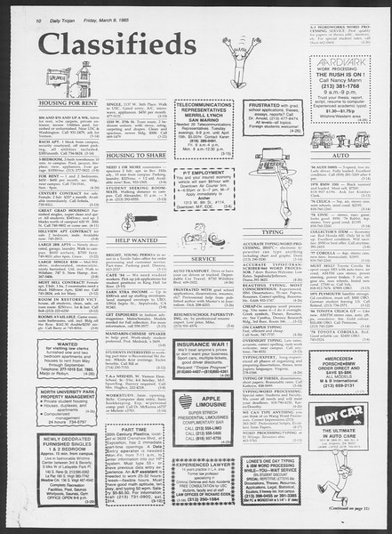 Daily Trojan, Vol. 98, No. 39, March 08, 1985