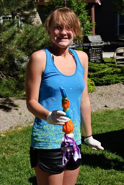 Heather doing tie dye.
