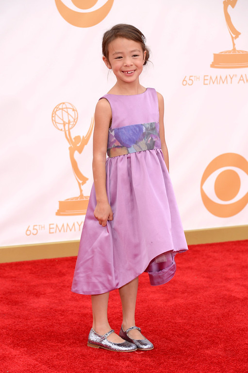 . Actress Aubrey Anderson-Emmons arrives at the 65th Annual Primetime Emmy Awards held at Nokia Theatre L.A. Live on September 22, 2013 in Los Angeles, California.  (Photo by Kevork Djansezian/Getty Images)