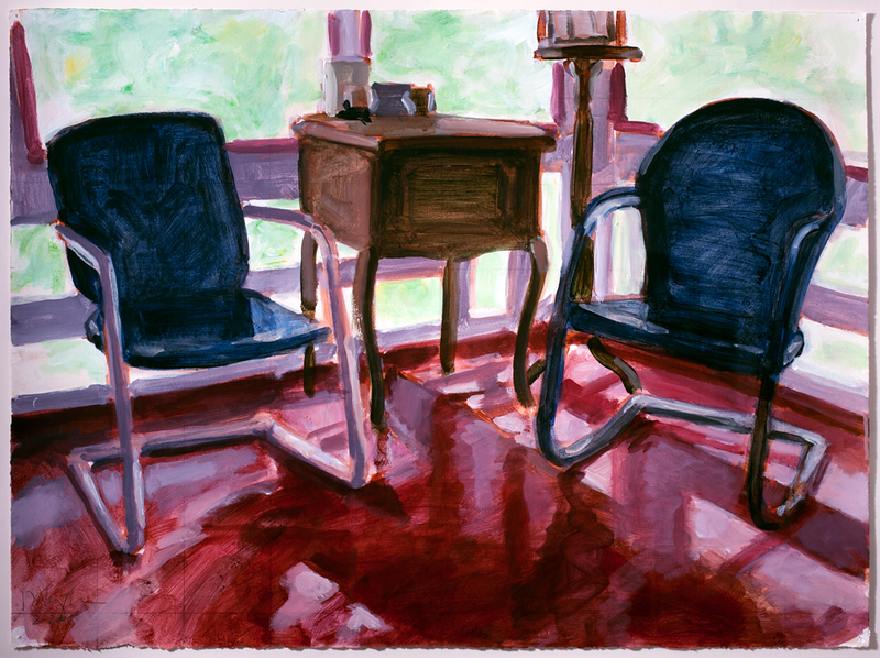 Porch chairs; acrylic on paper, 22 x 30 in, 2008