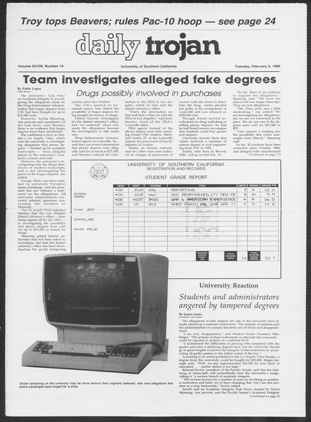 Daily Trojan, Vol. 98, No. 18, February 05, 1985