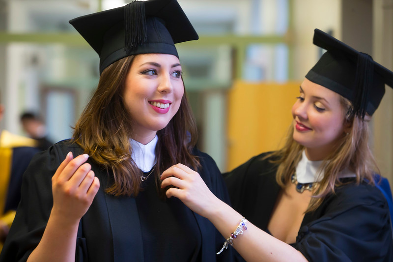 07/01/2015. FREE TO USE IMAGE. WIT (Waterford Institute of Technology) Conferring, Pictured are Grainne Maher and Eileanóir Daly from Waterford who graduated in Bachelor of Science in Food Science with Business. Picture: Patrick Browne