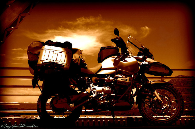 2/2 'Classic Metal' - photo and photoshop by Gillian Hine - GS Adventures motorcycle tours's - http://www.facebook.com/GSbike and Unicorn Pictures, Adventure Motorcycle Photography  www.unicornpictures.ifp3.com/