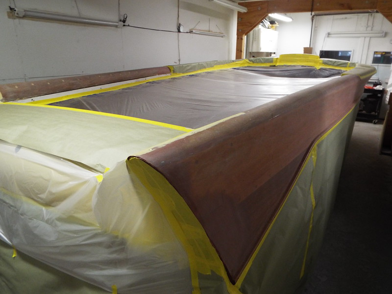 Rear starboard view of the varnish masked off.