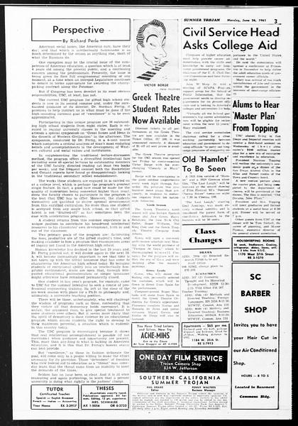 Summer Trojan, Vol. 11, No. 2, June 26, 1961
