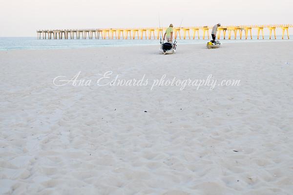 For GAFF Magazine. Kayak Launch.  Ernie and Linda Cavitt.  Panama City Beach.