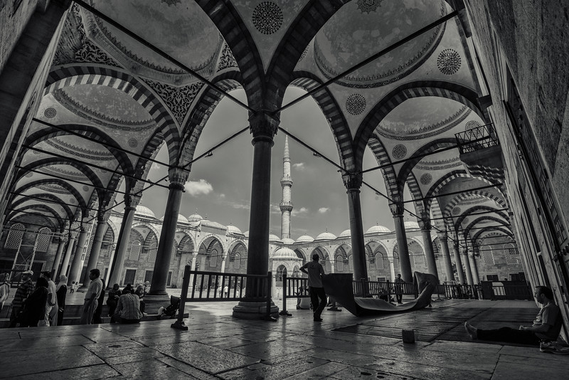 Getting the Blue Mosque ready for prayer.  Istanbul, Turkey, 2016.