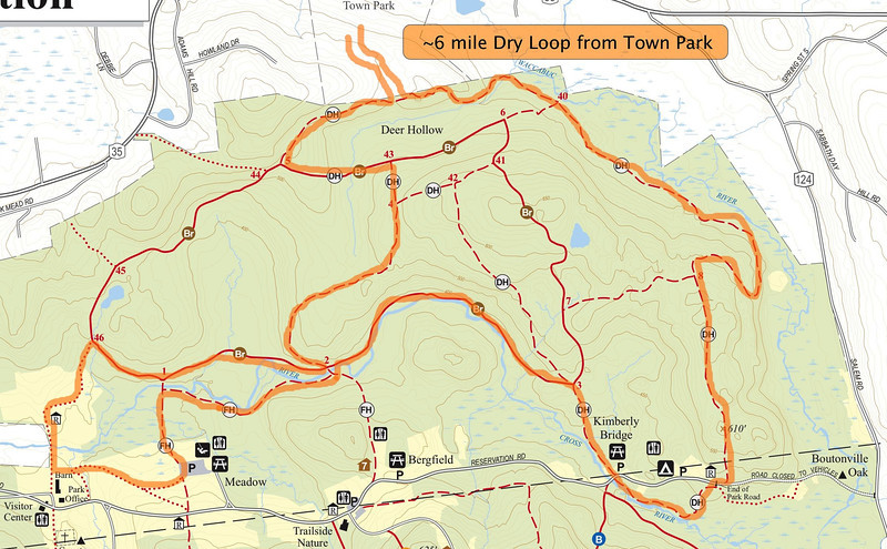 """6.3 Mile True """"Dry Loop"""" from Lewisboro Town Park including most of the Leatherman's Loop trails. This routing has no water crossings but they can easily be added. Detours around the mud flats but that can also easily be added. The elevation change in this course is more challenging than the Loop and it is slightly longer as well. A good benchmark for Loop time trials."""