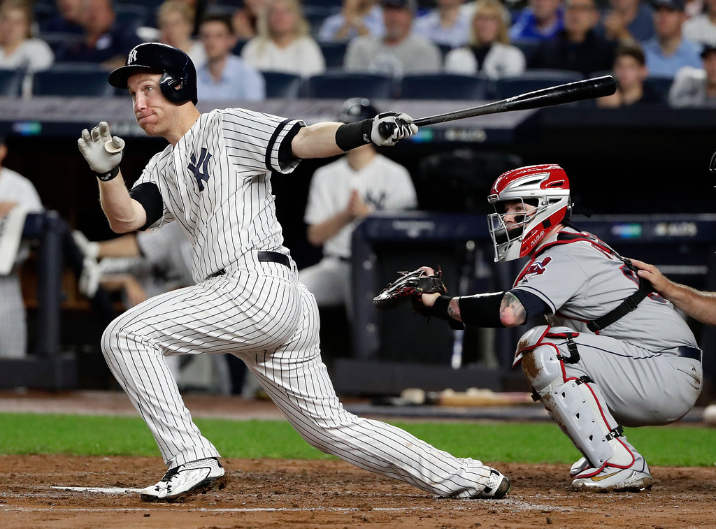 . New York Yankees\' Todd Frazier doubles to left field against the Cleveland Indians during the second inning in Game 4 of baseball\'s American League Division Series, Monday, Oct. 9, 2017, in New York. (AP Photo/Frank Franklin II)