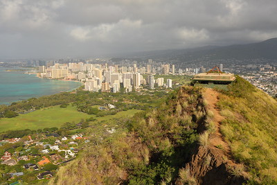 Diamond Head bunker with Waikiki in distance. © 2020 Kenneth R. Sheide