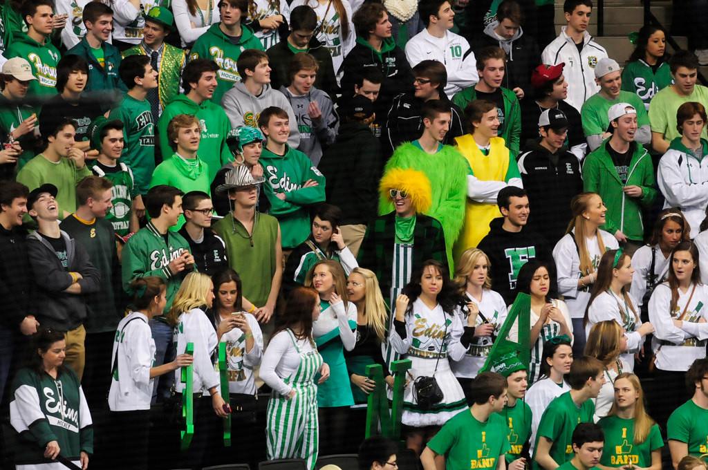 . Edina students enjoy the Hornets\' 9-3 win over Lakeville North.  (Pioneer Press: Scott Takushi)