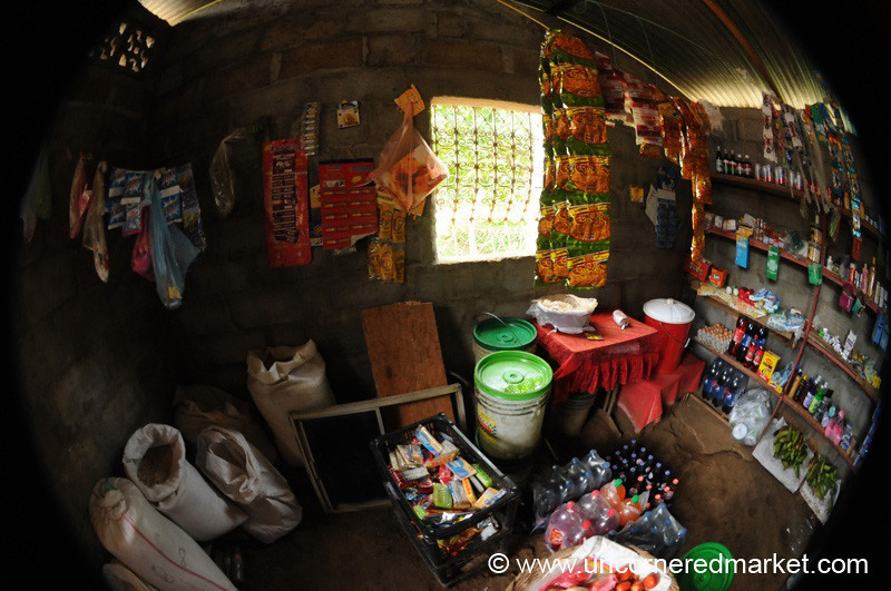Fisheye View of a Village Shop in Nicaragua