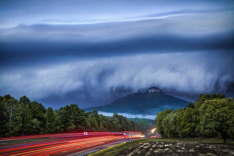 Shelf Cloud Overtakes Pilot Mountain
