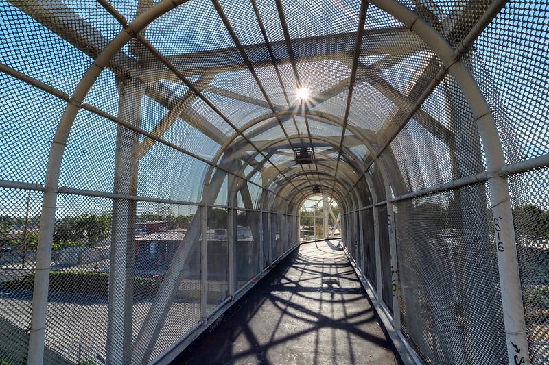 Pedestrian bridge over Blue Line tracks, Watts.