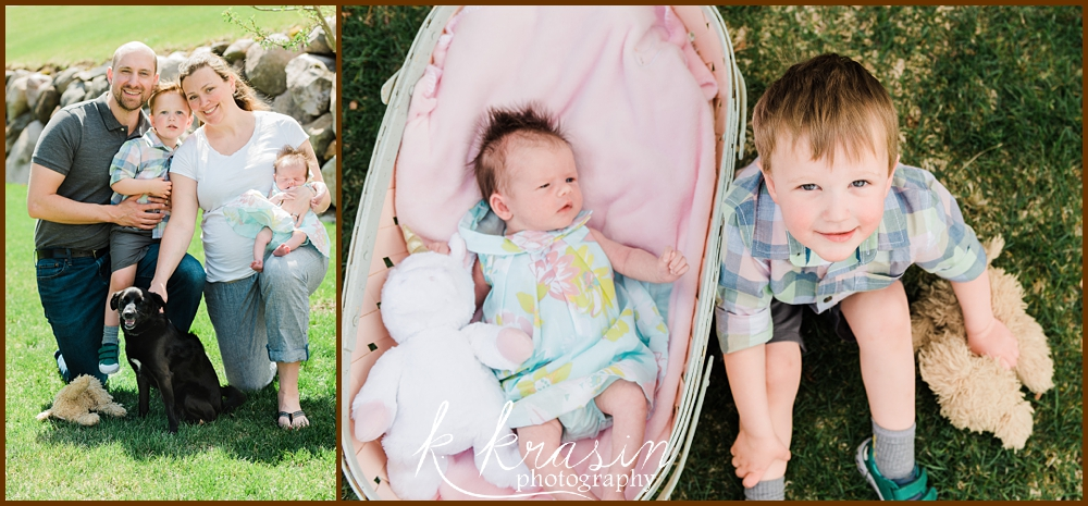 Collage of photos of family with mom, dad, newborn, toddler boy, and dog and one photo of newborn and brother