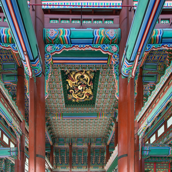 Architectural details of the ceiling of Geunjeongjeon (Throne Hall), Gyeongbokgung Palace,�Jongno District,�Seoul, South Korea