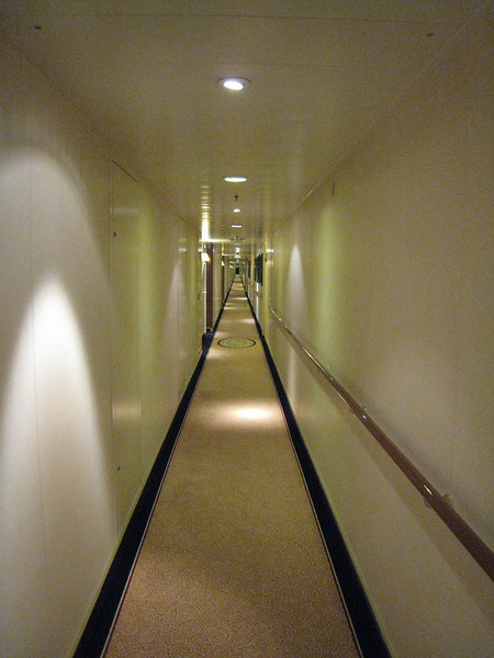 This ship was huge - this a view of of the hallway from the door on our stateroom.
