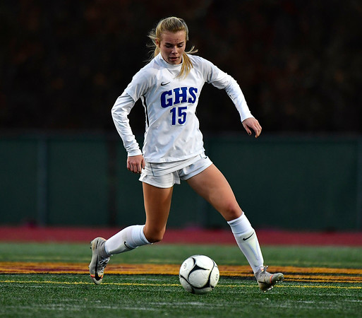 11/23/2019 Mike Orazzi | StaffrGlastonbury High School's Sophia Haussmann (15) during the Class LL Girls State Soccer Tournament at Veterans Stadium in New Britain Saturday evening. Glastonbury defeated Southington 1-0.