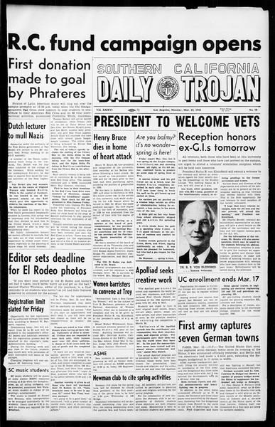 Daily Trojan, Vol. 36, No. 76, March 12, 1945