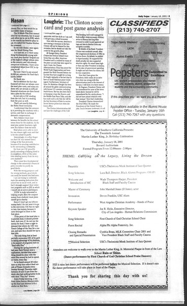 Daily Trojan, Vol. 142, No. 6, January 18, 2001