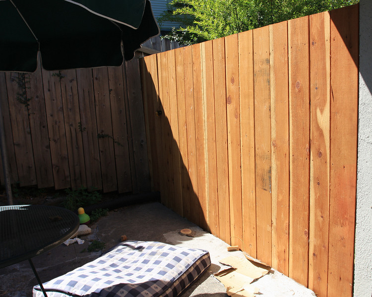 Backyard view of new fence. right hand portion.