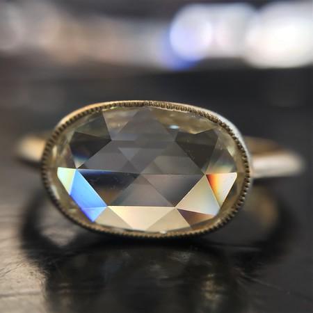 1.55ct Oval Rose Cut Diamond Bezel Ring GIA WX VS2