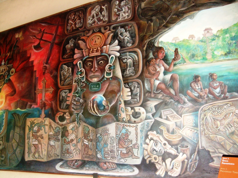 250-900: Classic era,  800-950: Collapse of Mayan civilization 1150-1520: Post-classic revival Museum's mural