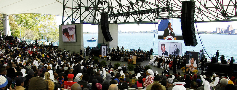 Detroit's Chene Amphitheater was recently renamed Aretha Franklin Amphitheater and was the location of a major Oct. 14 address by the Honorable Minister Louis Farrakhan during the 23rd anniversary of the Million Man March and Holy Day of Atonement.