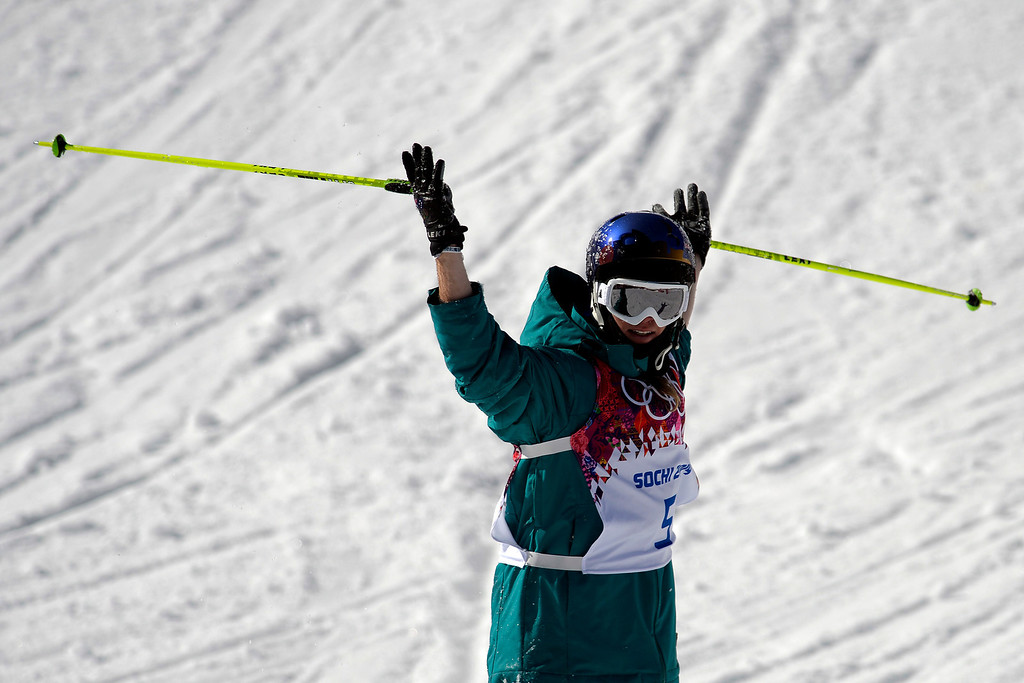 . Australia\'s Russ Henshaw reacts to wrecking during the men\'s ski slopestyle final at the Rosa Khutor Extreme Park. Sochi 2014 Winter Olympics on Thursday, February 13, 2014. (Photo by AAron Ontiveroz/The Denver Post)