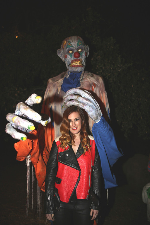. An actor and Rumer Willis at the 5th Annual Los Angeles Haunted Hayride Premiere Night on October 10, 2013.  The fifth year anniversary of the Los Angeles Haunted Hayride took Hayriders through scenes of actual hauntings.  The month-long event will once again take place in Griffith Park�s Old Zoo area, which has been home to murder, torture, paranormal activity, serial killers, and abduction. (Photos by Boris Issaei for the Los Angeles Daily News)