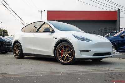 Model Y - XPEL Stealth White with Bronze Rims