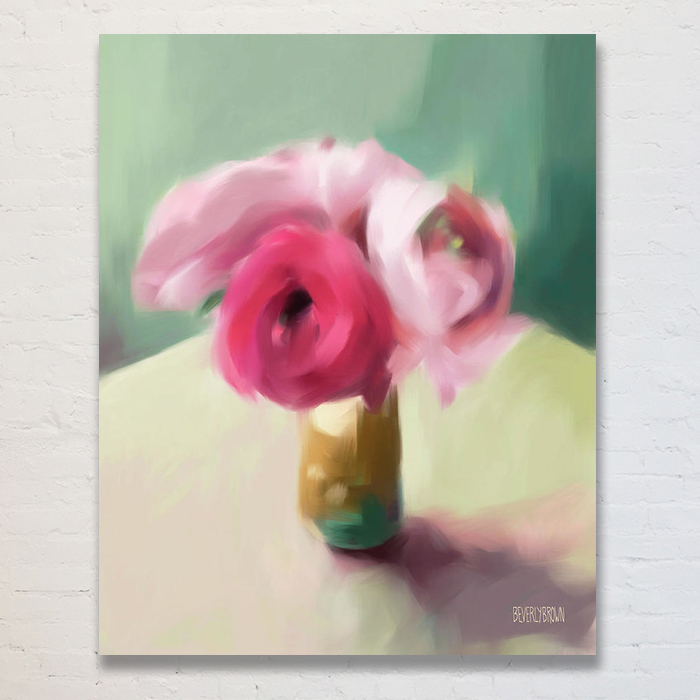 Pink Ranunculus - Bright Pink, Teal, Aqua, Yellow Large Floral Canvas Art - Beverly Brown Artist