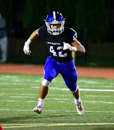 10/11/2019 Mike Orazzi | StaffrSouthingtons Dillon Kohl (42) during Friday night's football game in Southington.
