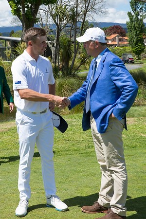 Luke Brown from New Zealand talking to the former Prime Minister of New Zealand, John Key on the 3rd day of competition  in the Asia-Pacific Amateur Championship tournament 2017 held at Royal Wellington Golf Club, in Heretaunga, Upper Hutt, New Zealand from 26 - 29 October 2017. Copyright John Mathews 2017.   www.megasportmedia.co.nz