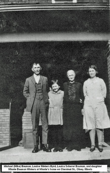 Mike Bauman Louise Winters Byrd Louisa Scherer Bauman and dtr Minnie Bauman Winters.jpg