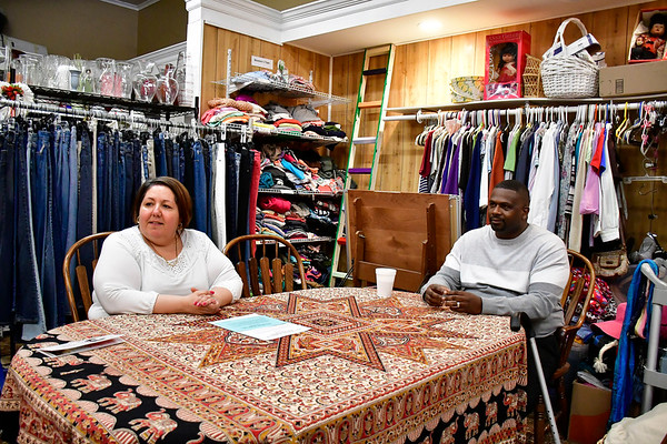 2/5/2020 Mike Orazzi | Staff Hand to Hand Direct Care Ministry's Reverend Freddie Jones and his wife Tina Lopez talk about the Christian-based thrift store and ministry on North Main Street in Bristol.