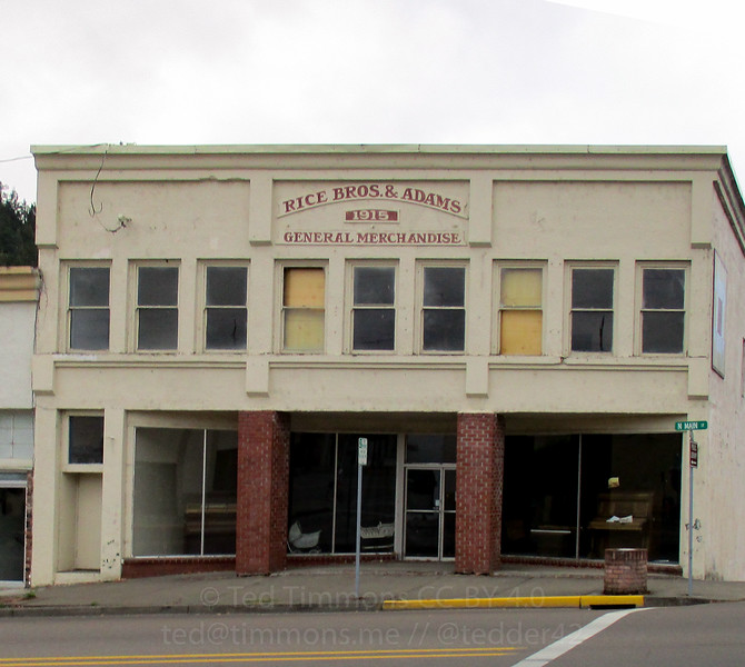 The historic Rice Brothers and Adams Building in Myrtle Creek.
