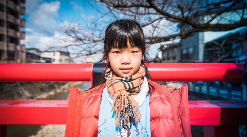 Girl on Bridge in Takayama