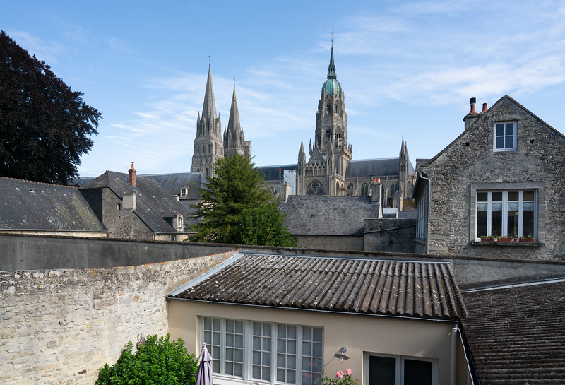 View of Bayeux Cathedral from hotel window