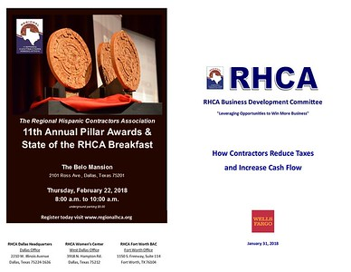 "RHCA Business Development Training ""How Contractors Reduce Taxes and Increase Cash Flow"" 01 31 18"