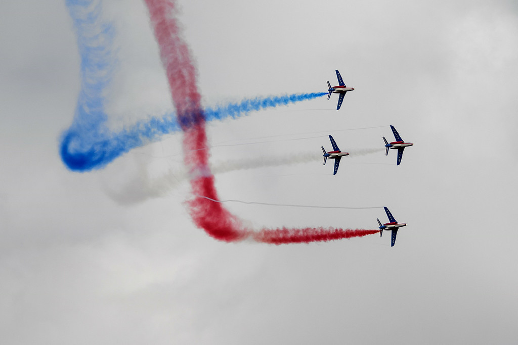 ". Jets of the ""The Patrouille de France\"" perform during the first day of AIR14 air show on August 30, 2014 in Payerne, western Switzerland. T  AFP PHOTO / FABRICE  COFFRINI/AFP/Getty Images"