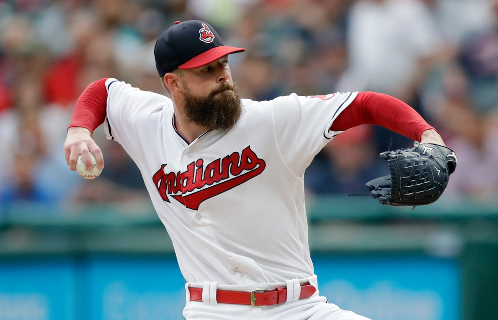 . Cleveland Indians starting pitcher Corey Kluber delivers in the first inning of a baseball game against the Pittsburgh Pirates, Monday, July 23, 2018, in Cleveland. (AP Photo/Tony Dejak)